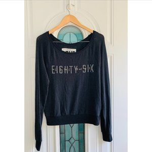 VS PINK Spell Out Long Sleeve Knit Pullover Black